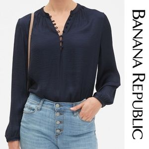 Banana Republic Poet Gathered Sleeve Top XL NWT